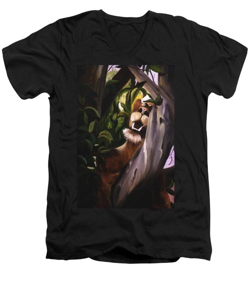 Men's V-Neck T-Shirt featuring the painting Satisfied by Renate Nadi Wesley