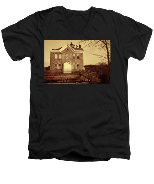 Saugerties Lighthouse Sepia Men's V-Neck T-Shirt by Nancy De Flon