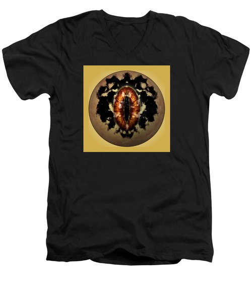 Men's V-Neck T-Shirt featuring the digital art Sauron's Eye by Mario Carini