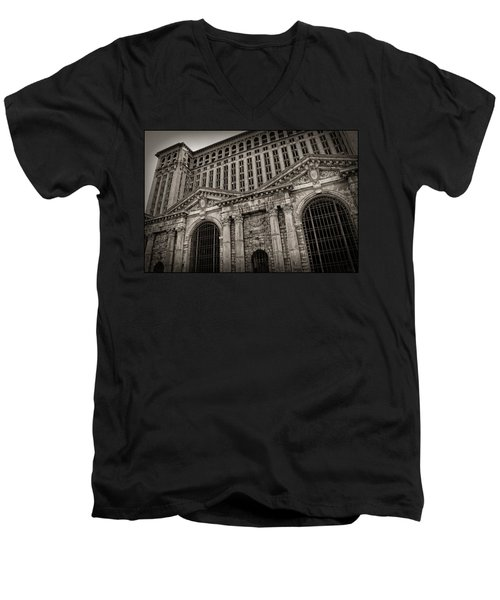 Save The Depot - Michigan Central Station Corktown - Detroit Michigan Men's V-Neck T-Shirt