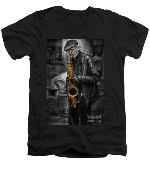 Sax Love Men's V-Neck T-Shirt by Yhun Suarez