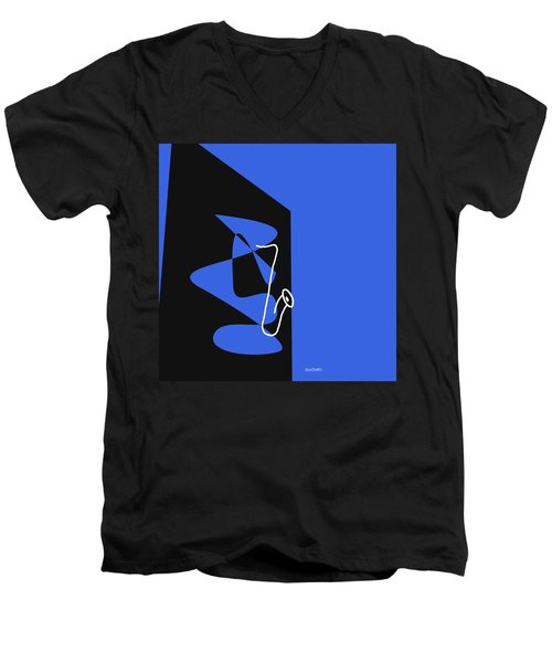 Men's V-Neck T-Shirt featuring the digital art Saxophone In Blue by Jazz DaBri