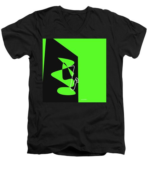 Men's V-Neck T-Shirt featuring the digital art Saxophone In Green by Jazz DaBri