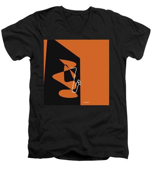 Saxophone In Orange Men's V-Neck T-Shirt by David Bridburg