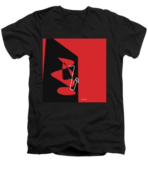 Men's V-Neck T-Shirt featuring the digital art Saxophone In Red by Jazz DaBri