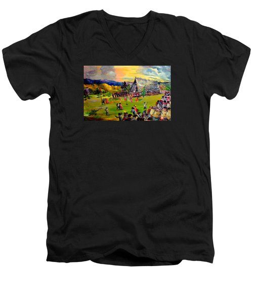 Men's V-Neck T-Shirt featuring the painting Sbiah Baah by Jason Sentuf