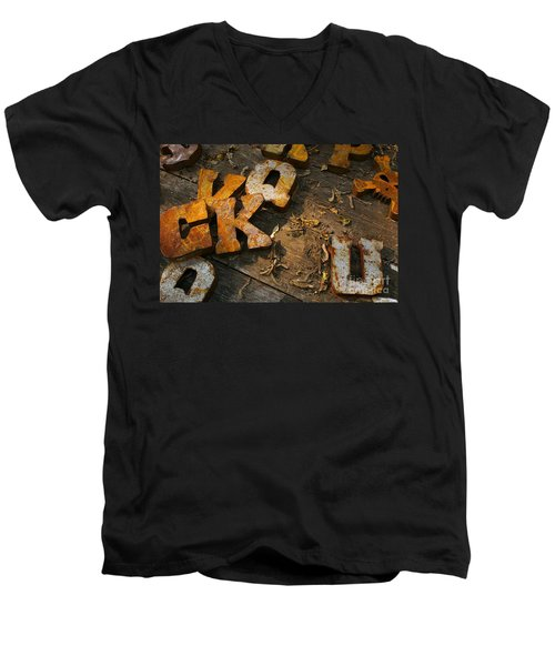 Men's V-Neck T-Shirt featuring the photograph Scamble Letters by Randy Pollard
