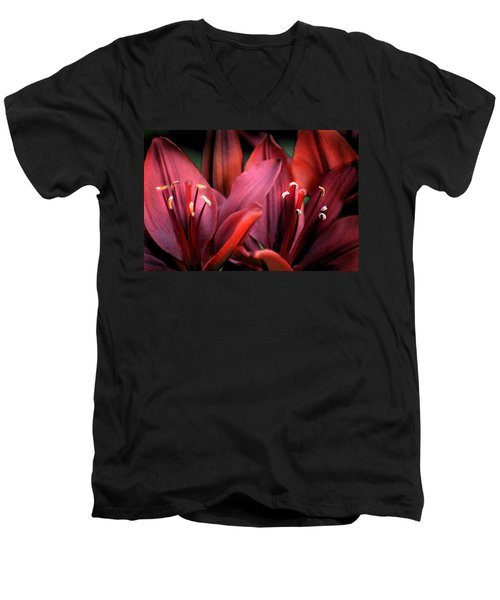 Men's V-Neck T-Shirt featuring the photograph Scarlet Lilies by Kathleen Stephens