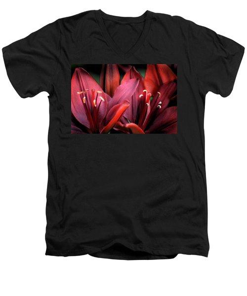 Scarlet Lilies Men's V-Neck T-Shirt