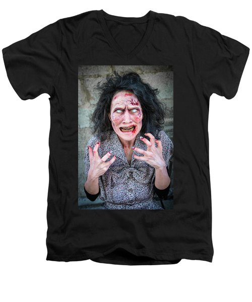 Scary Angry Zombie Woman Men's V-Neck T-Shirt