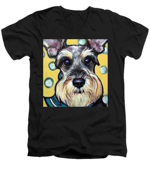 Schnauzer With Polkadots Men's V-Neck T-Shirt