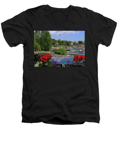 Schooners And Flowers, Camden, Maine Men's V-Neck T-Shirt