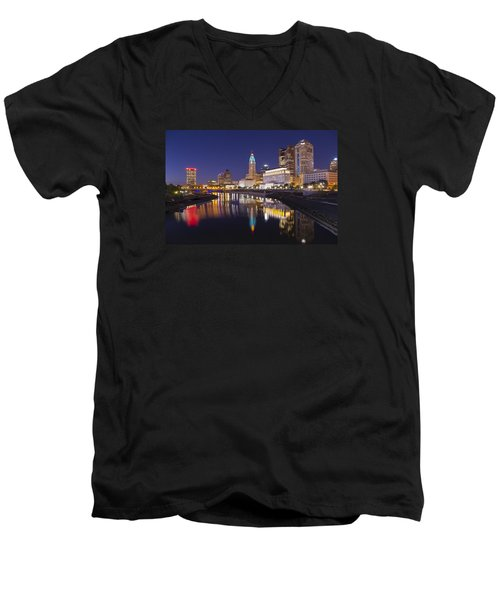 Men's V-Neck T-Shirt featuring the photograph  Scioto Reflections - Columbus by Alan Raasch