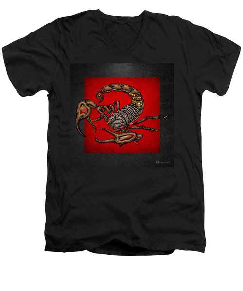 Scorpion On Red And Black  Men's V-Neck T-Shirt by Serge Averbukh