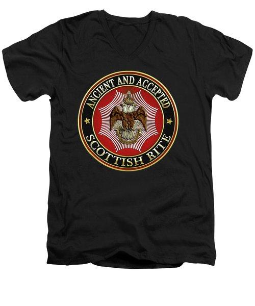 Scottish Rite Double-headed Eagle On Black Leather Men's V-Neck T-Shirt