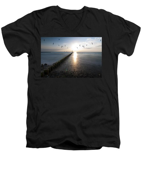 Sea Birds Sunset. Men's V-Neck T-Shirt by Nathan Wright