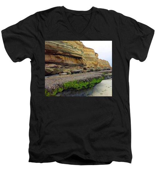 Sea Cliff Men's V-Neck T-Shirt by Betty Buller Whitehead