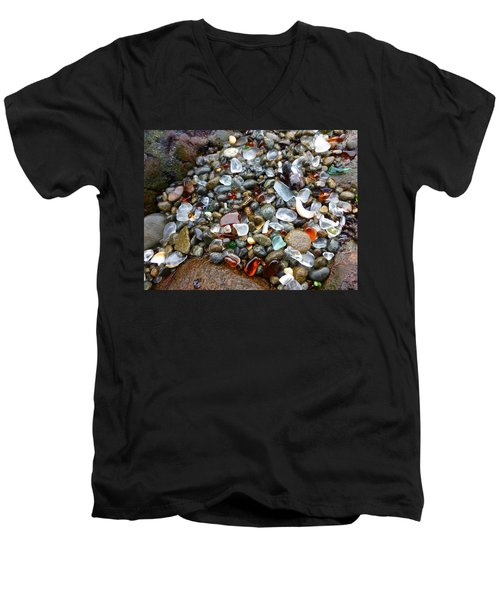 Sea Glass Gems Men's V-Neck T-Shirt by Amelia Racca