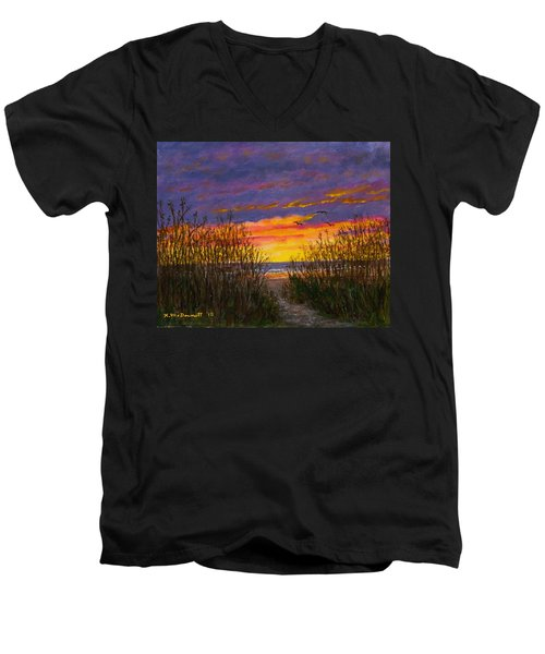 Men's V-Neck T-Shirt featuring the painting Sea Oat Sunrise # 2 by Kathleen McDermott