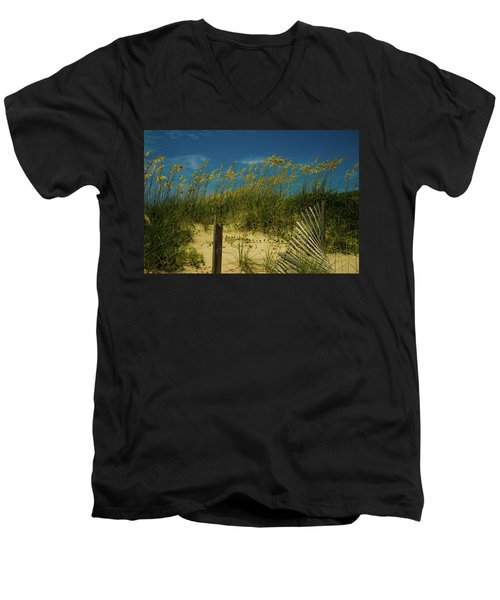 Men's V-Neck T-Shirt featuring the photograph Sea Oats And Sand Fence by John Harding