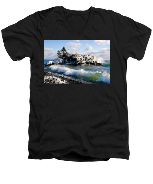 Sea Smoke At Hollow Rock Men's V-Neck T-Shirt