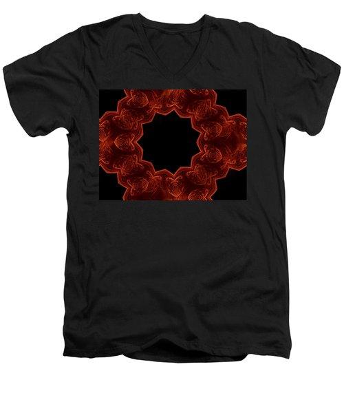 Seamless Kaleidoscope Copper Saturated Men's V-Neck T-Shirt