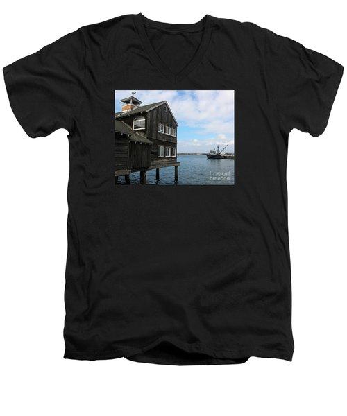 Seaport Village San Diego Men's V-Neck T-Shirt by Cheryl Del Toro