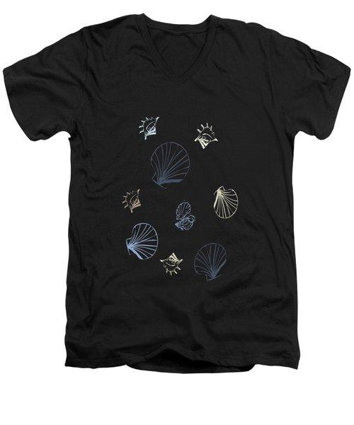 Seashell Pattern Men's V-Neck T-Shirt by Christina Rollo
