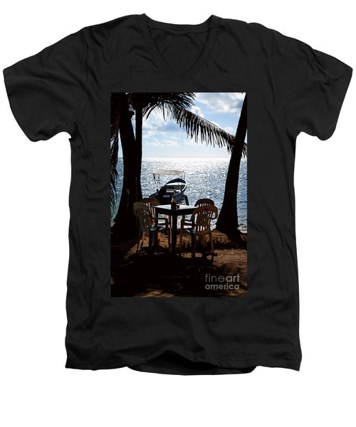 Seaside Dining Men's V-Neck T-Shirt by Lawrence Burry