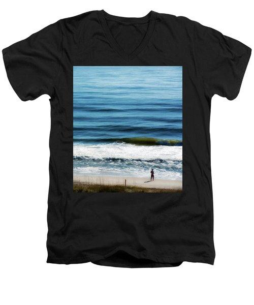 Seaside Fisherman Men's V-Neck T-Shirt by Glenn Gemmell