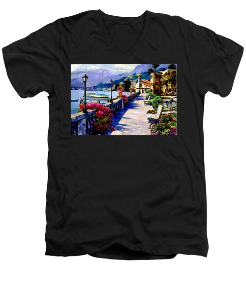 Seaside Pathway Men's V-Neck T-Shirt by Ron Chambers