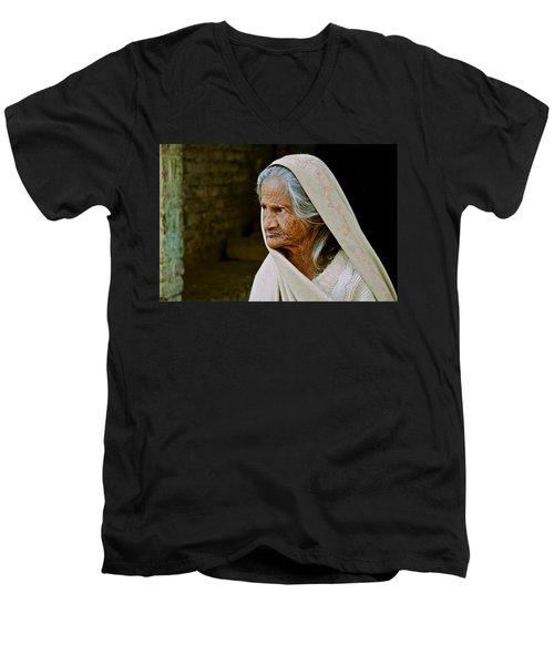 Seasoned Elegance Men's V-Neck T-Shirt by Valerie Rosen