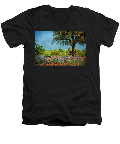 Men's V-Neck T-Shirt featuring the photograph Seating For Two by Ken Smith