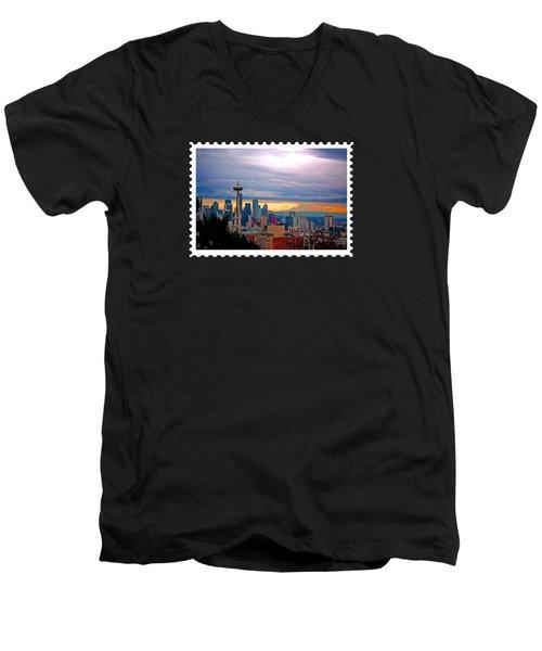 Seattle At Sunset Men's V-Neck T-Shirt by Elaine Plesser