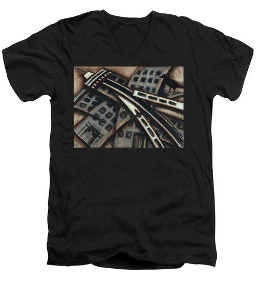 Tommervik Seattle Downtown Art Print Men's V-Neck T-Shirt