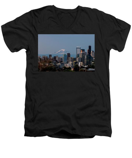 Seattle-mt. Rainier In The Morning Light .1 Men's V-Neck T-Shirt by E Faithe Lester