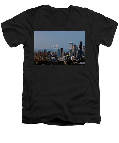 Seattle-mt. Rainier In The Morning Light .1 Men's V-Neck T-Shirt