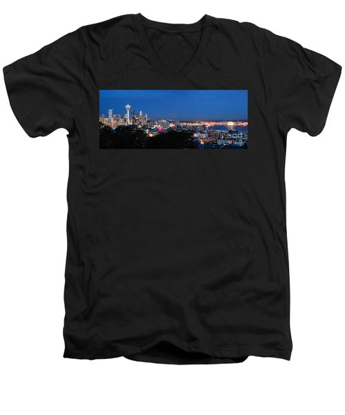 Men's V-Neck T-Shirt featuring the photograph Seattle Panorama At Twilight by Peter Simmons
