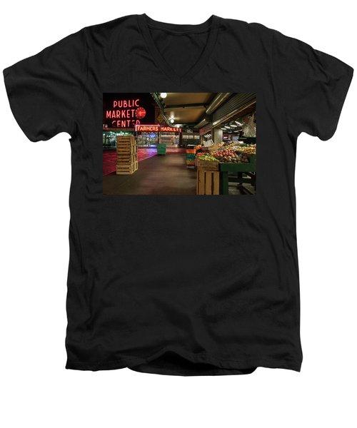 Seattle Public Market 2 Men's V-Neck T-Shirt