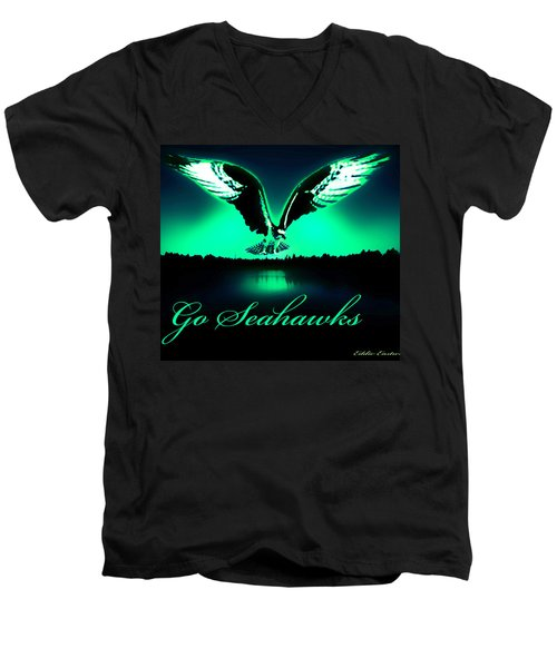 Men's V-Neck T-Shirt featuring the photograph Seattle Seahawks by Eddie Eastwood