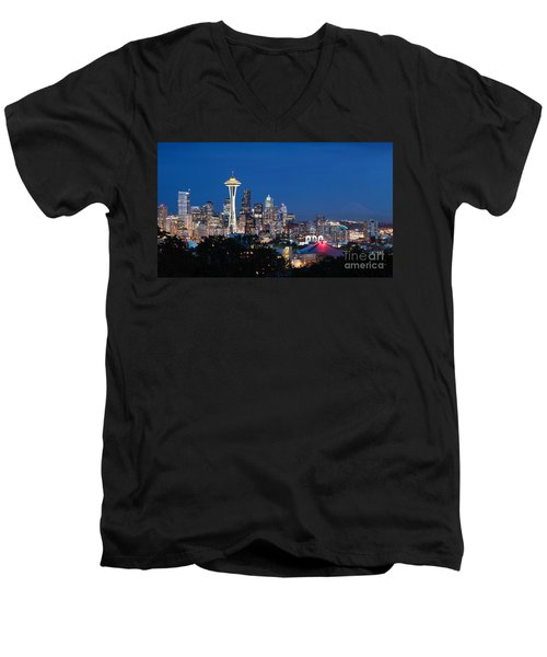 Men's V-Neck T-Shirt featuring the photograph Seattle Twight by Peter Simmons