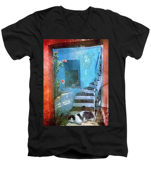 Men's V-Neck T-Shirt featuring the digital art Secret Space by Alexis Rotella