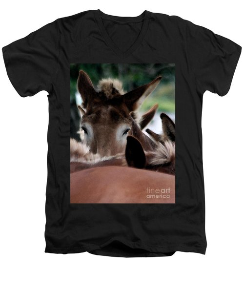 Men's V-Neck T-Shirt featuring the photograph See No Evil by Polly Peacock