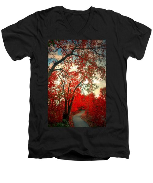 Men's V-Neck T-Shirt featuring the photograph Seeing Red 2 by Tara Turner