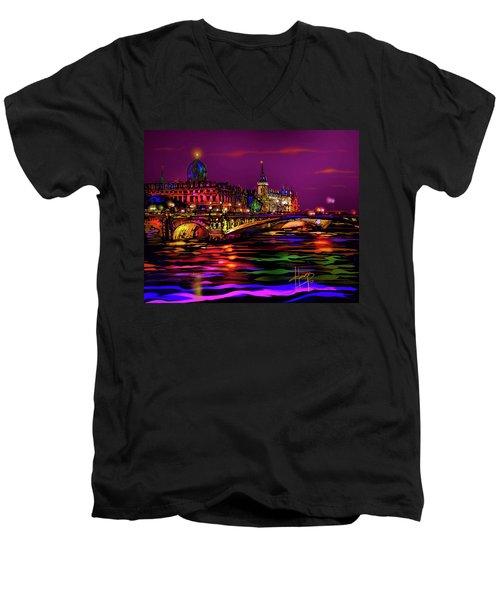 Seine, Paris Men's V-Neck T-Shirt by DC Langer