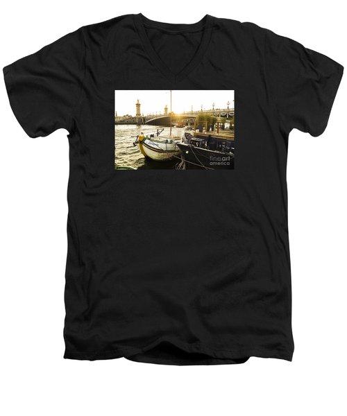 Seine River With Barges And Boats, Pont De Alexandre Bridge Behind, Paris France. Men's V-Neck T-Shirt
