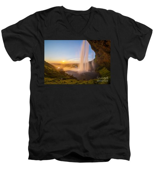 Seljalandsfoss Sunset Iceland Men's V-Neck T-Shirt