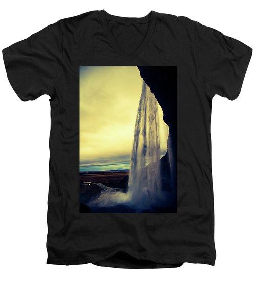 Seljalandsfoss Sunset Men's V-Neck T-Shirt