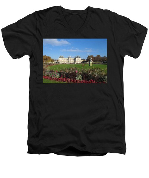 Men's V-Neck T-Shirt featuring the photograph Senate From Jardin Du Luxembourg by Christopher Kirby