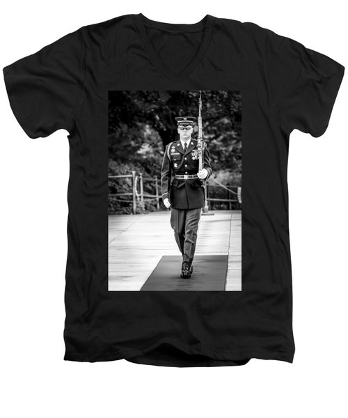 Men's V-Neck T-Shirt featuring the photograph Sentinel At The Tomb Of The Unknowns by David Morefield